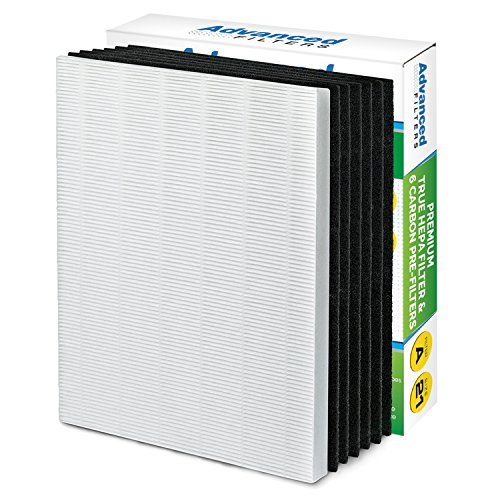 Premium True HEPA Filter with 6 Activated Carbon Pre Filters compatible with Winix 115115 Size 21 - Works with PlasmaWave P300, 5300, 5500, 6300 & Fellowes Aeramax 290, 300, DX95 by Advanced Filters