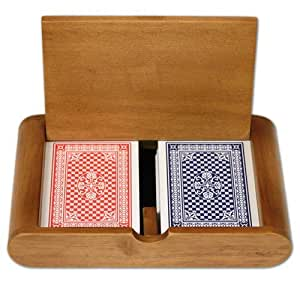 Copag 100% Plastic Playing Cards - Red/Blue Wide Pinochle Set in Wooden Case