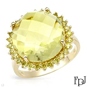 FPJ Exquisite Cocktail Ring With 12.28ctw Precious Stones - Genuine Diamonds and Quartz Beautifully Designed in 14K Yellow Gold. Total item weight 6.1g (Size 7)