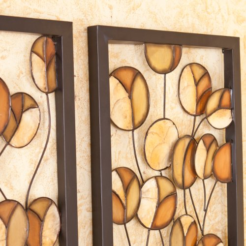 Southern Enterprises Soho Abstract Metal/Capiz 2-Piece Wall Panel Set