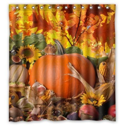 Autumn Leaves Happy Thanksgiving Day Pumpkin Sunflowers Bathroon Waterproof Cool Shower Curtain Family Choice 66