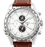 Men's Brown Leather Strap White Dial Quartz Movement Wrist Watch