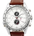 Men's Brown Leather Strap White Dial...