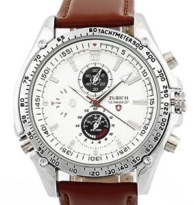 Men's Brown Leather Strap White Dial Quartz Movement Wrist Watch: Watches