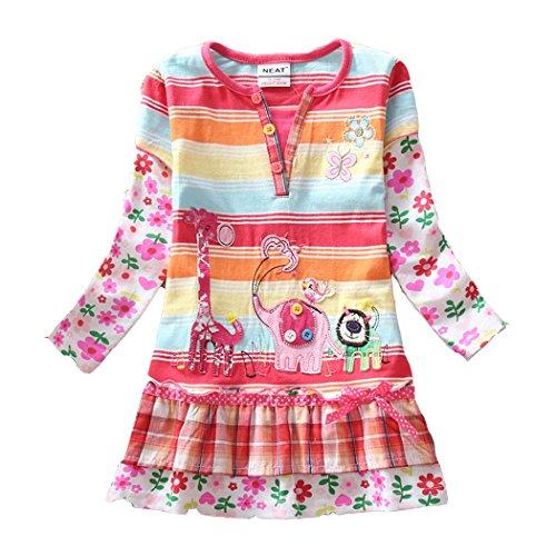 2015 New Neat Kid Girl Cotton Animal Flower Stripe Dress Long Sleeve 5-6 Years