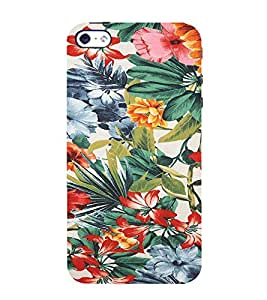 Ifasho Animated Pattern Colrful Flower With Leaves Back Case Cover For Apple Iphone 4S