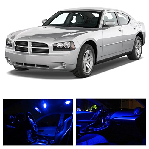 Ledpartsnow Dodge Charger 2006-2010 Blue Premium Led Interior Lights Package Kit (5 Pieces)