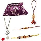 Combo Of Exclusive Handmade Rakhi With Purpul Color Cheked Design Clutch And Bracelette.,Unique Rakhi Set For Brother With Rakhi Gift Roli Chawal Rakshabandhan Special,Rakhi For Brother,Rakhi For Brother With Gift Combo,Rakhi For Brother And Bhabhi Combo,