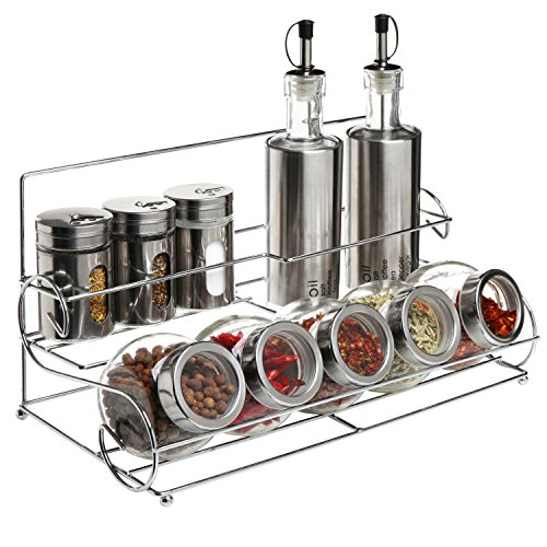 All-in-1 Stainless Steel Condiment Set with Wire Rack