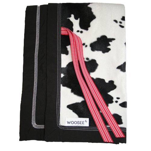 Rain or Shine Kids Woobee Plush Blanket, Cow/Black