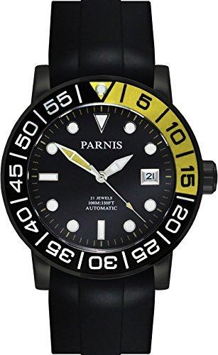 PARNIS Automatikuhr Modell 3229 MIYOTA-SPORT Herrenuhr Ø 42mm 316L Edelstahl Saphirglas verschraubte Krone 10BAR wasserdicht Kautschuk-Armband Automatik-Uhrwerk Miyota Kaliber 821A