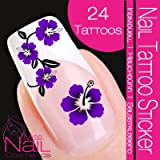 Nail Art Tattoo Sticker Hibiscus / Flower / Blossom - purple
