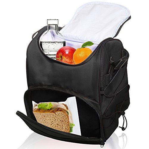Large Insulated Lunch Bag with Adjustable Shoulder Strap (Black) - 1