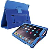 Snugg iPad Air 2 Case - Smart Cover with Flip Stand & Lifetime Guarantee (Electric Blue Leather) for Apple iPad Air 2 (2014)