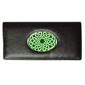 Long Wallet of Green Ornate Celtic Knot (Irish Jewelry, Pendant, Ring, Necklace)