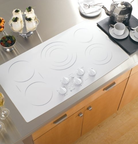 """Ge Pp962Tmww Profile 36"""" White Electric Smoothtop Cooktop"""