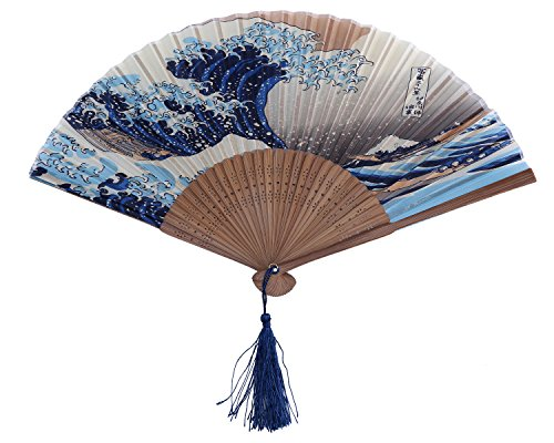 Leegoal(TM) Dark Blue and White Wave Pattern Lace Bamboo Handheld Folding Fans for Girls Women