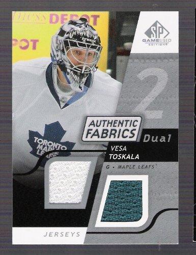 vesa-toskala-2008-09-sp-game-used-edtion-authentic-fabrics-dual-jersey-card-anaheim-ducks-hockey