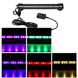 Anself 24cm 3.5w 9 LEDs Aquarium Submersible Bubble Light Fish Tank LED Light Bar 120 Degree RGB 15Colors IP68 Remote Control
