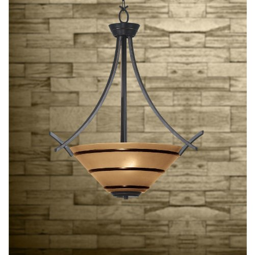 Kenroy Home 90084ORB Wright Three-Light Pendant, Oil-Rubbed Bronze with Painted Amber Globe