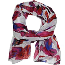 Bucasi Feather Scarf with Red Magenta Pink Red and Blue and Black with White