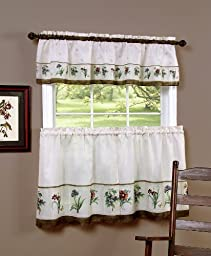 Achim Home Furnishings Botanical Tier and Valance Set, 58-Inch by 24-Inch, Multi