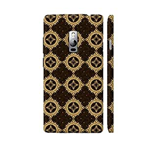 Colorpur Golden Brown Vector Floral Pattern Printed Mobile Back Cover For OnePlus 2 (Matte Brown)