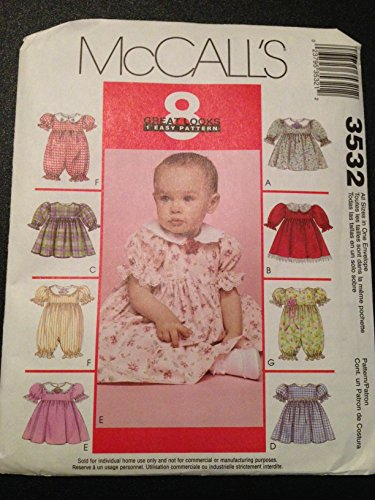 Mccall'S 3532 Sewing Pattern, Infants' Dress Or Rompers With Snap Crotch And Panties front-910230
