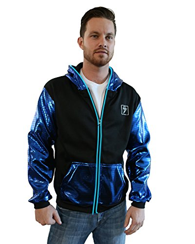 Light Up Electro Hoodie (Large, Black & Blue)