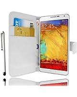 Etui Housse Luxe Portefeuille Blanc Samsung Galaxy Note 3 N9000 + STYLET et 3 FILM OFFERT !