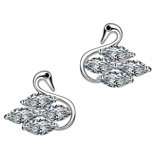 Swan Stud Earrings<br>18 k White Gold Plated Hypoallergetic Cubic Zirconia Stud Earrings