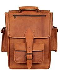 """IHandikart 16"""" Brown Leather Vintage Satchel Rucksack Backpack Laptop Travel Bag - Men & Women(Brown2327)"""