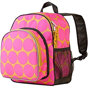 Wildkin Olive Kids Pack 'n Snack Backpack,One Size,Big Dot Hot Pink