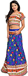 Exotic India Blue and Pink Two-Piece Lehenga Choli with Ari Floral Embroi - Blue