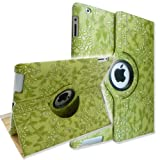 Ctech 360 Degrees Rotating Stand (Green Embossed Flower) Luxury Leather Case for Apple iPad 2 with Smart Cover Wake/Sleep Function