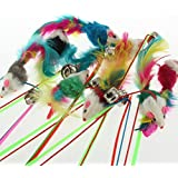 Alcoa Prime 1Pcs Pet Cat Toy Cute Design Steel Wire Feather Teaser Wand Plastic Toy For Cats Color Multi Products...