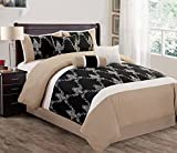 Modern 7 Piece Bedding Black / White / Taupe Motif Embroidered King Comforter Set with accent pillows