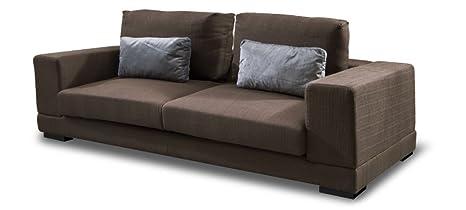 Sofá de 4 plazas en tela marrón-Lampa