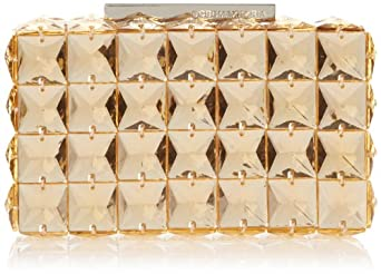 BCBG Lulu Square Stone Clutch Evening Bag,Parfait,One Size