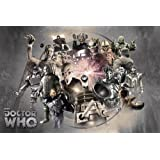 "Doctor Who - TV Show Poster (Enemies Through Time - Daleks, Weeping Angels, Cybermen...) (Size: 36"" x 24"")"