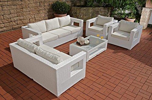 CLP 5-teiliges Poly-Rattan Lounge-Set HONOLULU: 3er Sofa, 2er Sofa, 2 Sessel, Tisch 100×85 cm, Polster & Kissen weiß, 1,25 mm günstig bestellen