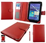 Emartbuy® Red Stylus + Universal Range Red Basic Wallet Case Cover With Card Slots Suitable for Prestigio MultiPad 7 Inch ULTRA DUO Tablet