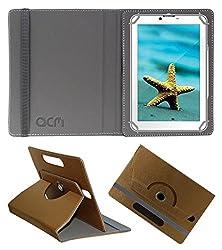 Acm Designer Rotating Leather Flip Case For Videocon V-Tab Ace Pro Tablet Cover Stand Golden