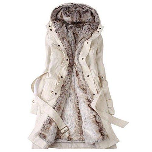 SODIAL (R) Hot Donna Cappotto D'inverno Spesso Caldo Con Cappuccio Piumino Lungo Taglia L Beige