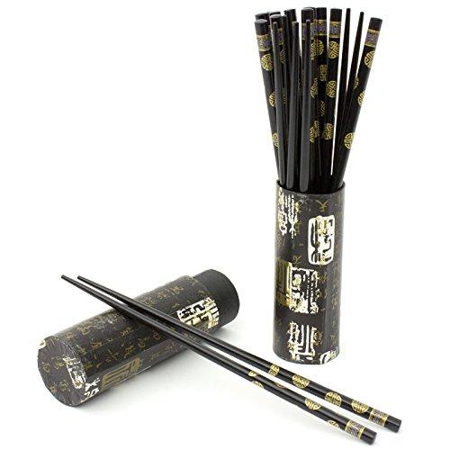 Oriental Furniture 10 Pair Wood Chopsticks Set - Black