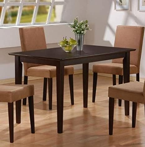 7pc Cappuccino Finish Dining Table & 6 Microfiber Parson Chairs Set