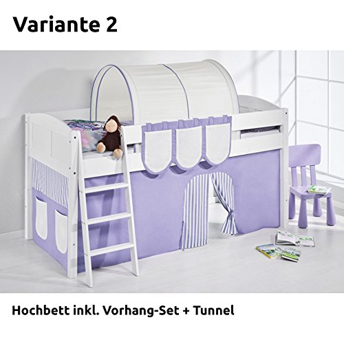 Hochbett Spielbett IDA Lila Beige, mit Vorhang, weiß, Variante 2 günstig