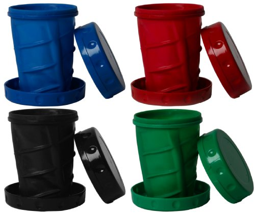 Reusable 12 oz Collapsible Camping / Travel Cups - 1 Blue, 1 Red, 1 Black, 1 Green