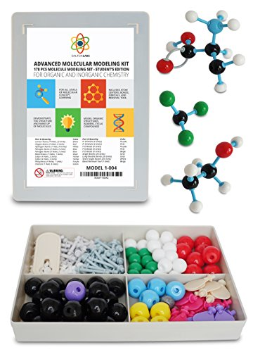 Molecular Model Kit with Molecule Building Software, Organic Chemistry Set by Dalton Labs - Advanced Teaching Edition Educational Set - 178 pcs Color Coded Atoms, Bonds, Orbitals, Links - Science Toys (Teen Modeling compare prices)
