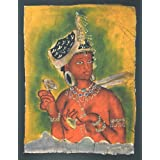"Dolls Of India ""Ajanta Bodhisattva"" Batik Painting On Cotton Cloth - Unframed (29.21 X 40.64 Centimeters)"